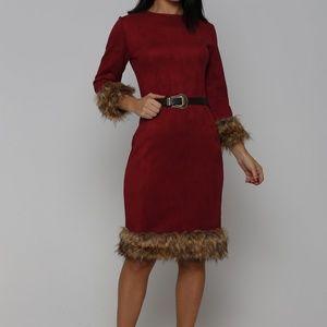 CLOSE OUT SALE RED/WINE FAUX SUEDE FUR DRESS
